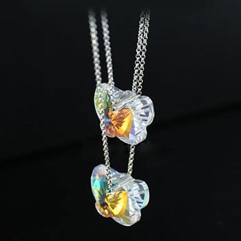 Austria crystal & 925 silver necklac...