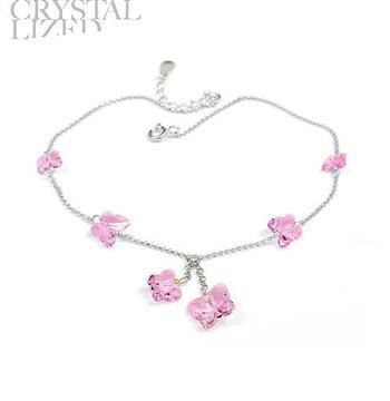 Austria crystal & silver foot chain