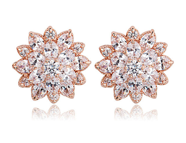 flower zircon earring 208019