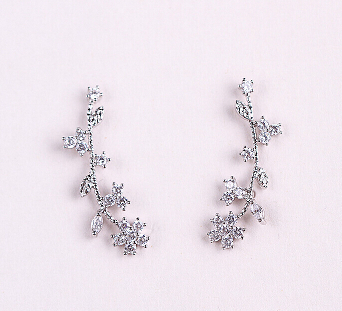 flower zircon earring 208015