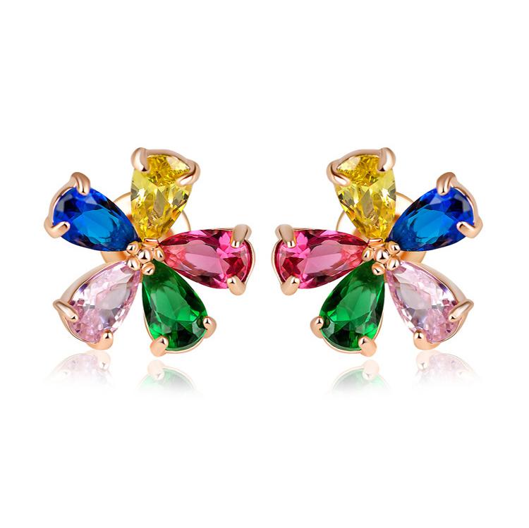 flower zircon earring 208030