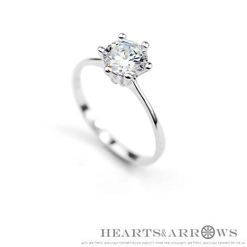 925 silver Heart & Arrows diamond ring 5...