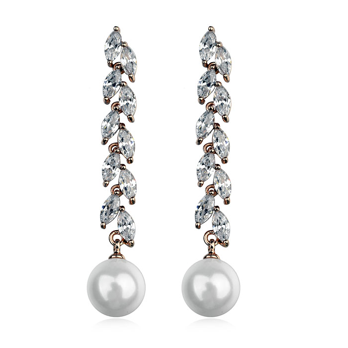 Fashion zircon pearl earring 125101