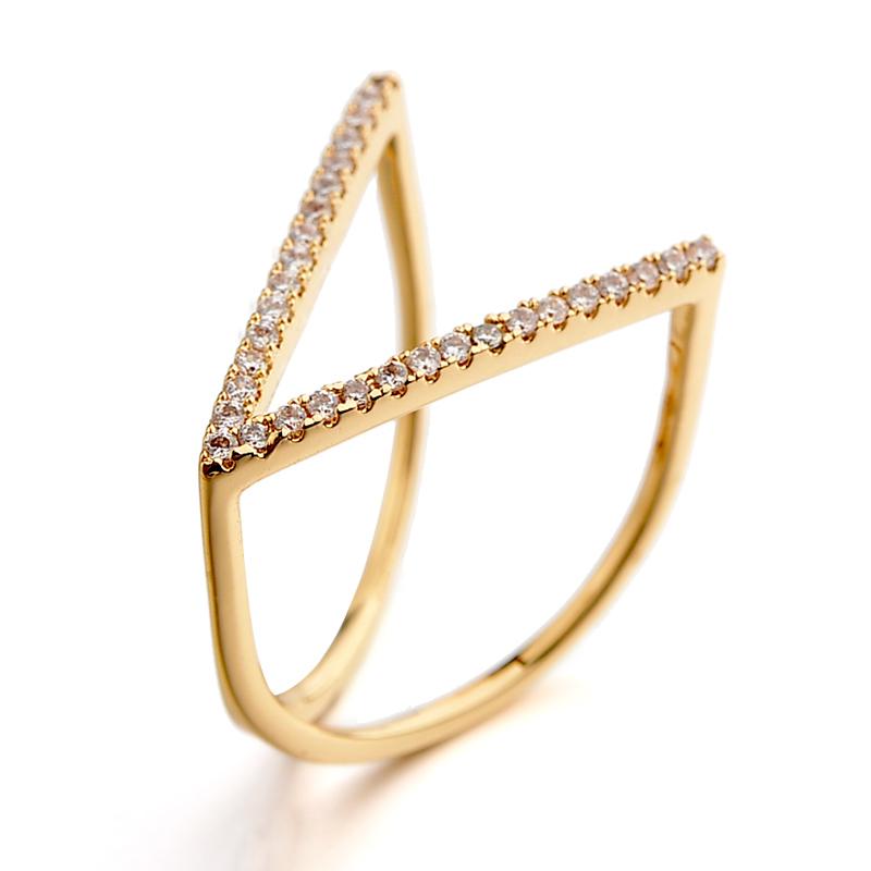 V shape zircon ring 115642