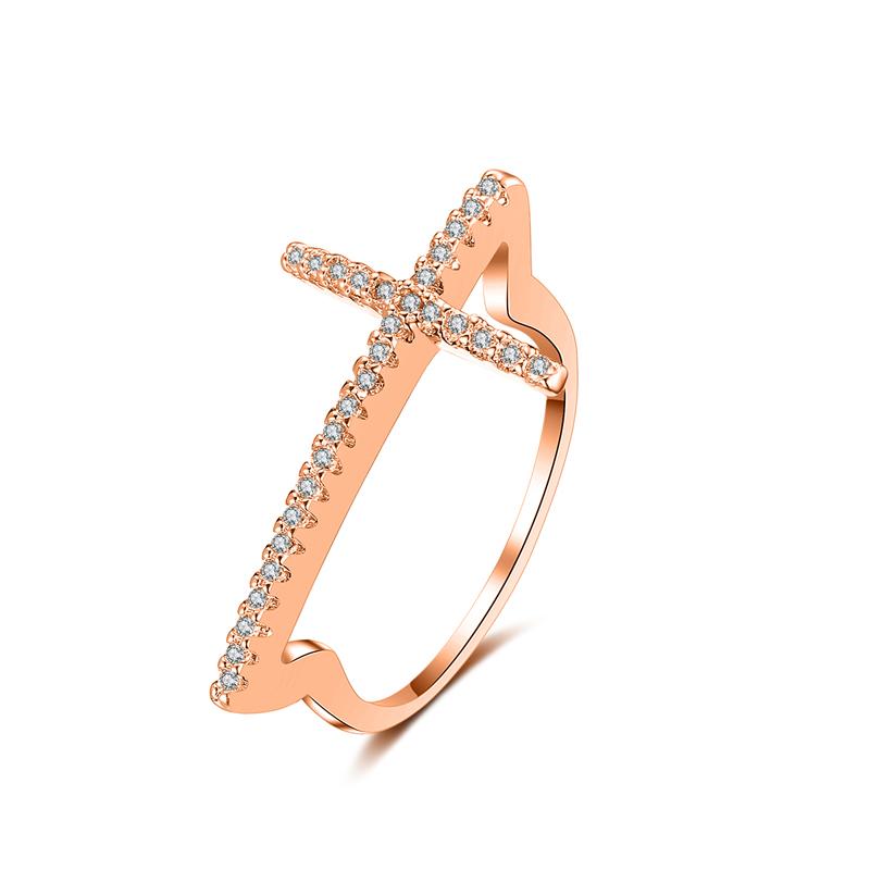 fashion cross zircon ring 4023